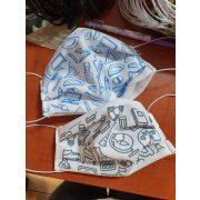 Designer textil maszk, egyedi maszk - iskola