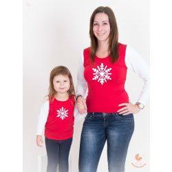 Anya lánya/fia felső szett karácsonyi hópihével