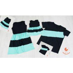 Anya két lánya ruha - Apa-fia  póló (fekete - menta)