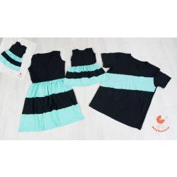 Anya két lánya ruha - Apa póló (fekete - menta)
