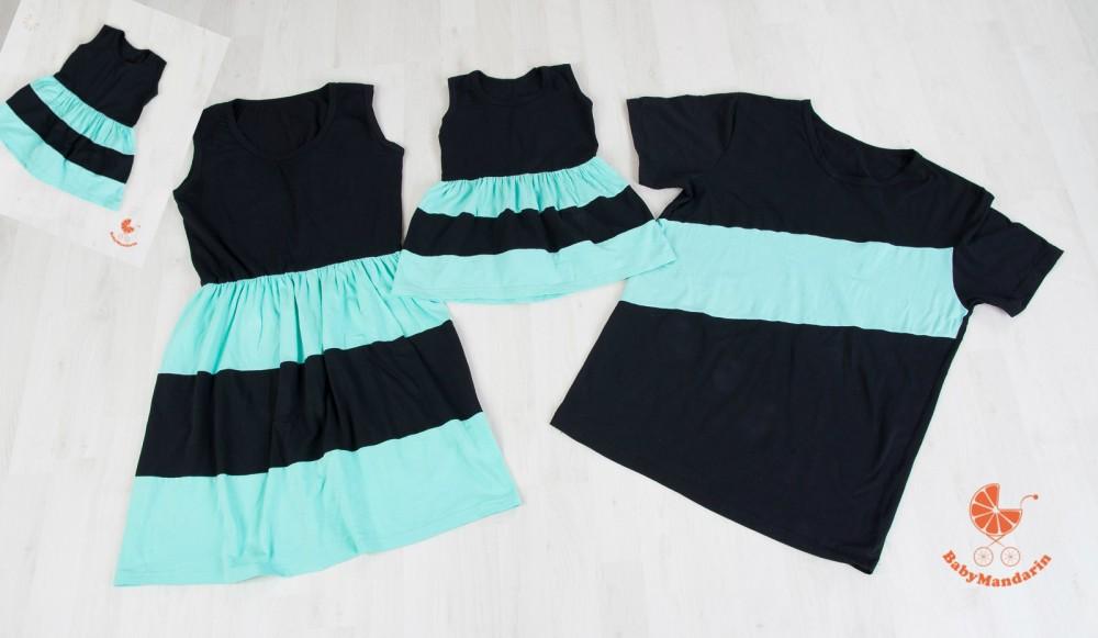 ba89b578303 Anya két lánya ruha - Apa póló (fekete - menta) - BabyMandarin ...