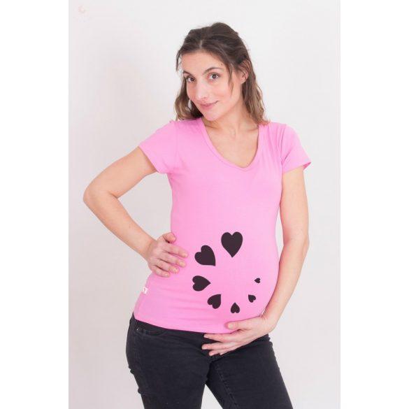 Kismama póló (mintás, feliratos) - Szívecskés töltés
