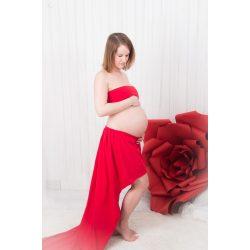 Bérelhető kismama ruha PIROS (pocakvillantós felső+szoknya)