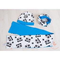 Buggyos sapka és sál szett (körsál vagy sima hosszú sál) Kék pandás