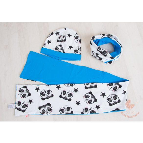 Pamut sapka és sál szett  (Kék pandás)