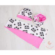 Buggyos sapka és sál szett (körsál vagy sima hosszú sál) Rózsaszín pandás
