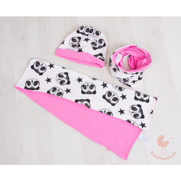 Pamut sapka és sál szett (Rózsaszín pandás)
