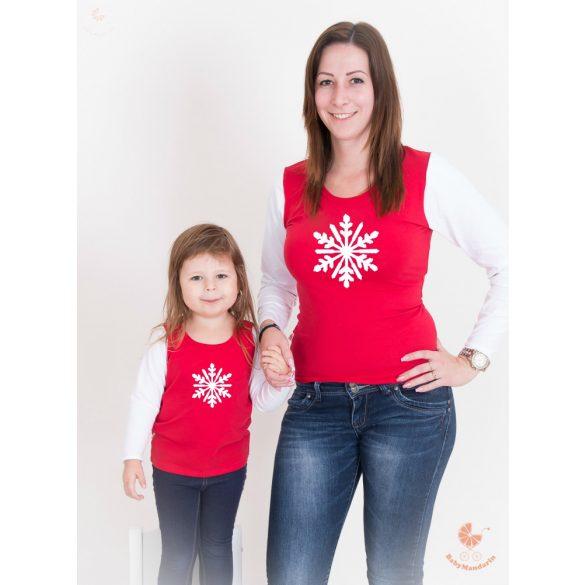 Karácsonyi anya-lánya felső szett (Hópihés) anya-lánya póló szett