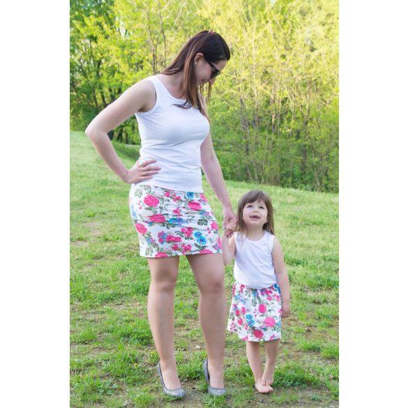 Anya lánya szoknya szett fehér alapon virágos
