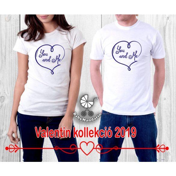 Szerelmespár póló szett (you and me) VÁLASZTHATÓ SZÍNEK Valentin napi póló szett