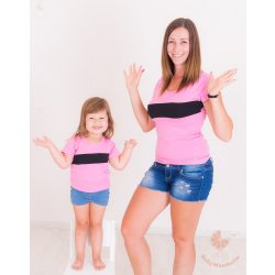 Anya-lánya póló rózsaszín-fekete csíkkal