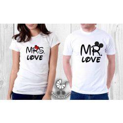 Szerelmespár póló szett (Mr és Mrs. love) VÁLASZTHATÓ SZÍNEK Valentin napi póló szett