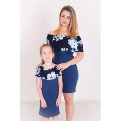 Anya -  lánya fodros ruha szett (sötétkék virágos-sötétkék2)