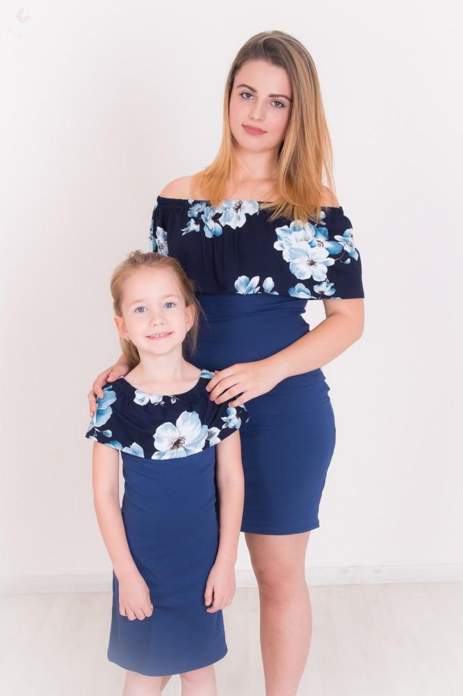 74a8fdecf2 Anya - lánya fodros ruha szett (sötétkék virágos-sötétkék2 ...