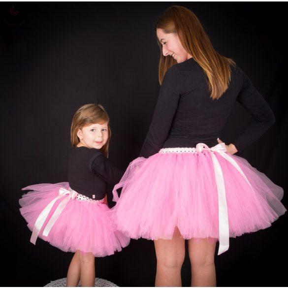 Anya lánya tüllszoknya szett, tütü szett világos rózsaszín