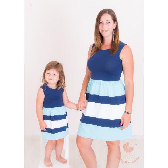 Anya - lánya ruha szett (sötétkék-világoskék-fehér)