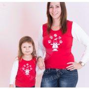 Karácsonyi anya-lánya felső szett (Mikulás) anya-lánya póló szett