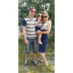Anya-Lánya ruha - Apa póló (sötétkék- citromsárga sötétkék csíkos)