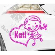 Autó matrica EGYEDI névvel kedves grafikával Lányos3
