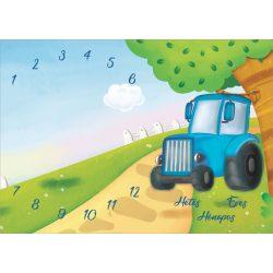 Mérföldkő takaró - hetes, hónapos, éves takaró  NAGY MÉRETŰ hónapos pléd /kék traktoros/
