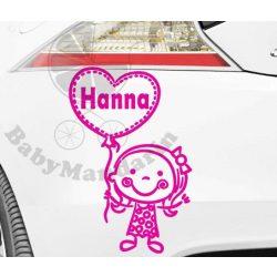 Autó matrica EGYEDI névvel kedves grafikával Lányos1