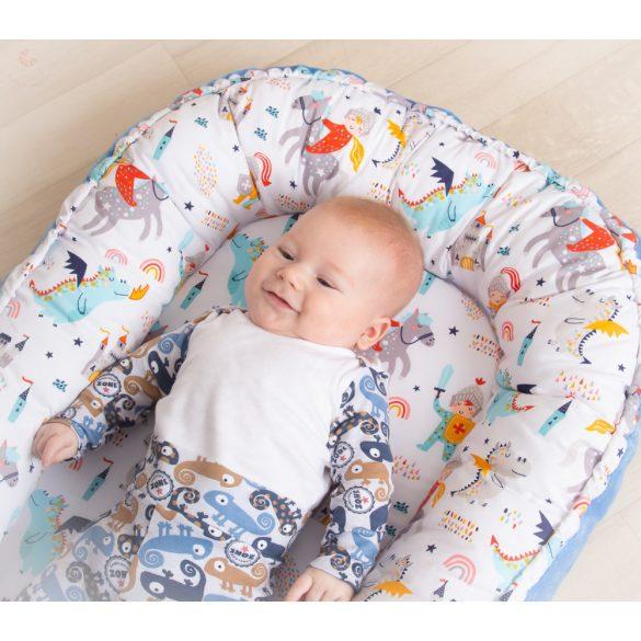 Babafészek, pihe-puha babafészek, baba fekvő, (normál méret) FIÚS, TAKARÓVAL
