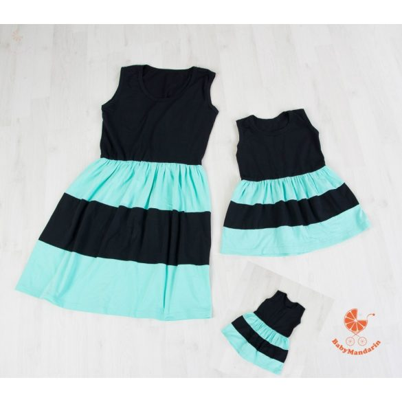 Anya - két lánya ruha szett (türkiz - fekete)