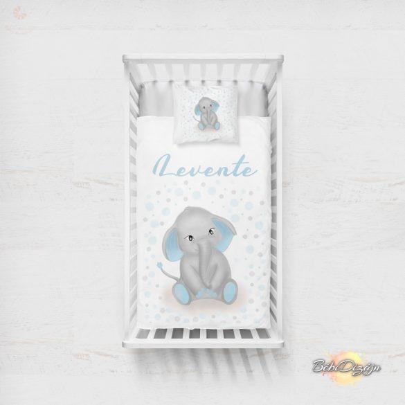 Egyedi pihe-puha NEVES takaró - fiús elefántos- KÉT MÉRETBEN