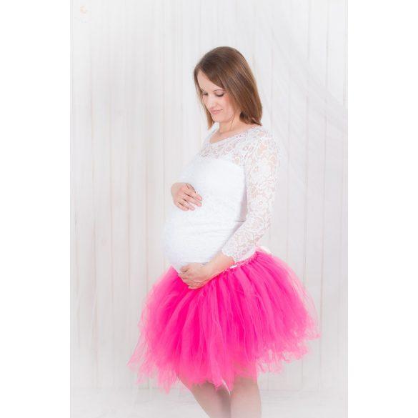 Bérelhető kismama ruha Pink tüllszoknya+fehér csipke felső