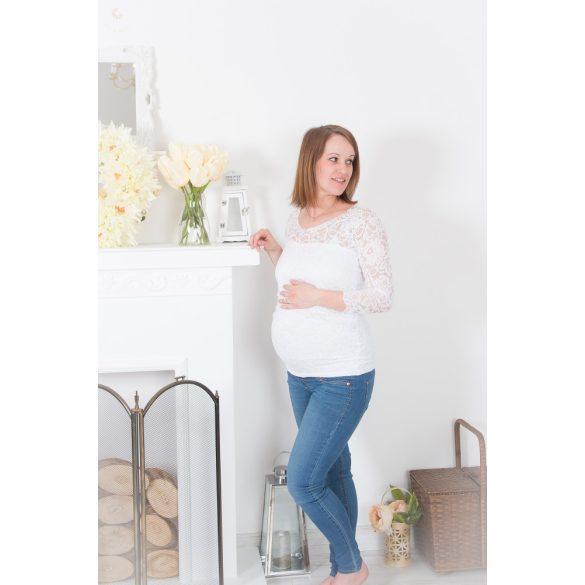Bérelhető kismama ruha (fehér csipke felső)