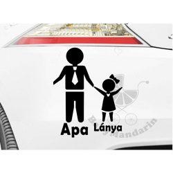Autó matrica EGYEDI névvel kedves grafikával APA LÁNYA