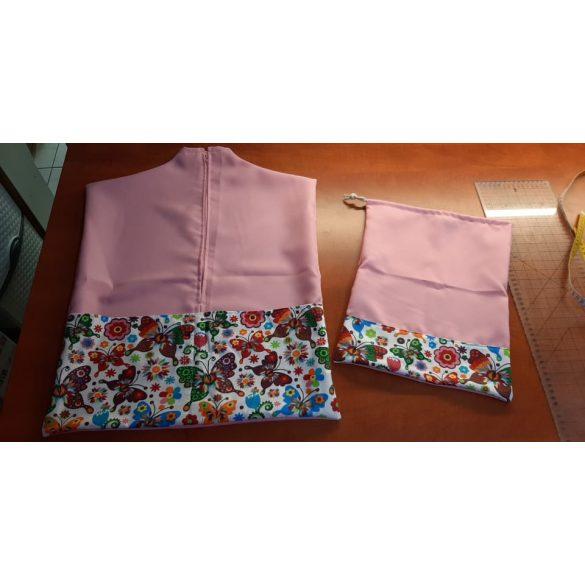 Teljes óvodai szett egyedi névvel és jellel  /rózsaszín+pillangós/ AJÁNDÉK táskával