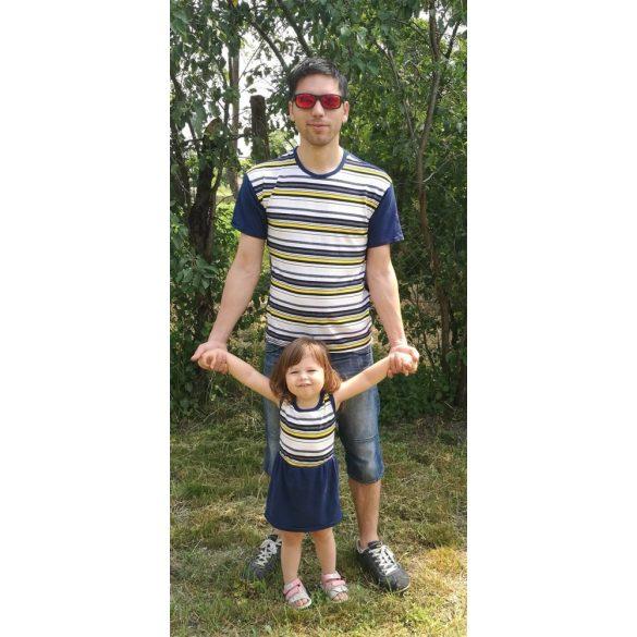 Apa póló - lánya ruha szett (Sötétkék - citromsárga csíkos)
