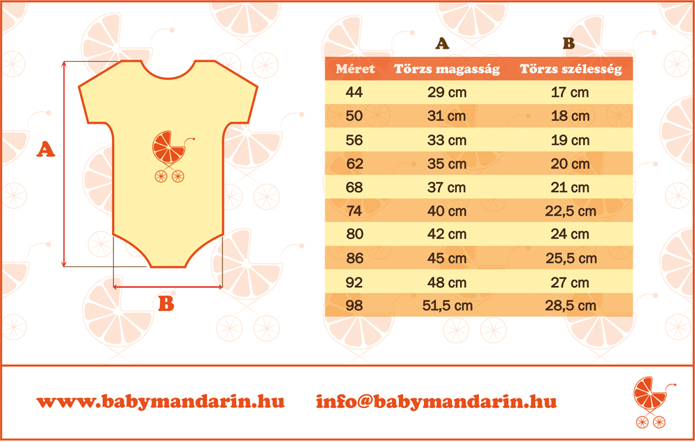 Mérettáblázat BabyMandarin rövidujjú body