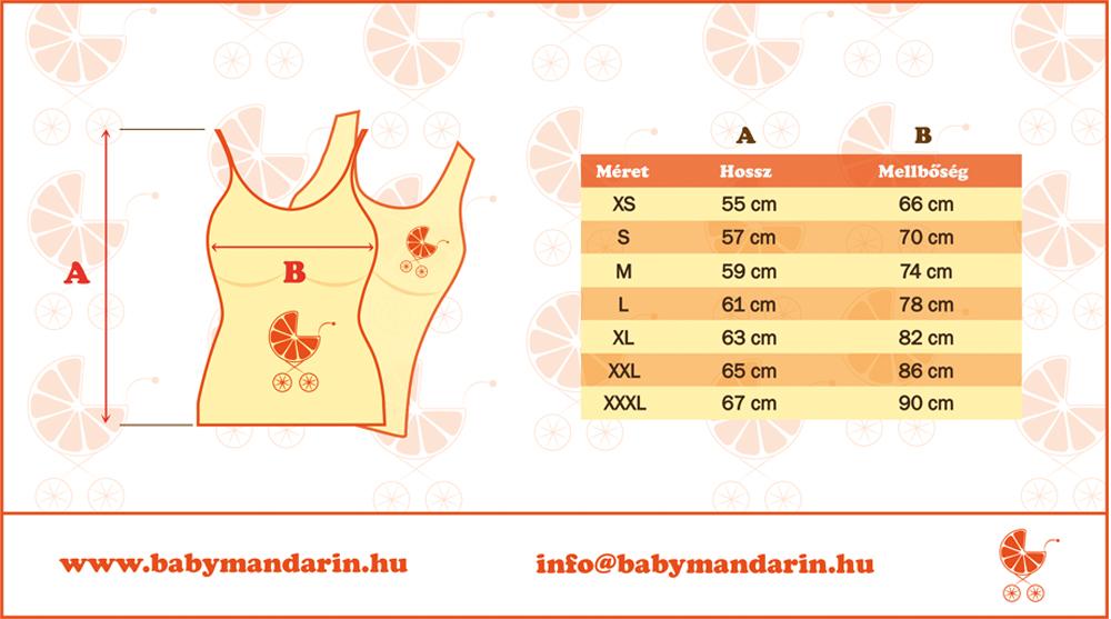 Mérettábla BabyMandarin női felső